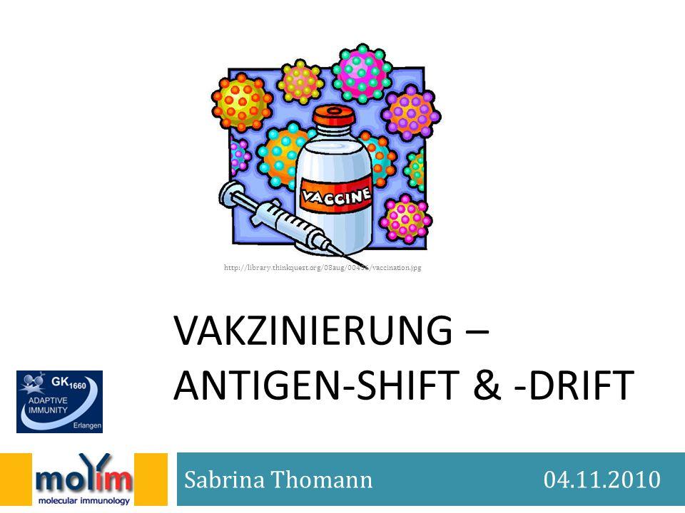 VAKZINIERUNG – ANTIGEN-SHIFT & -DRIFT Sabrina Thomann 04.11.2010 http://library.thinkquest.org/08aug/00436/vaccination.jpg
