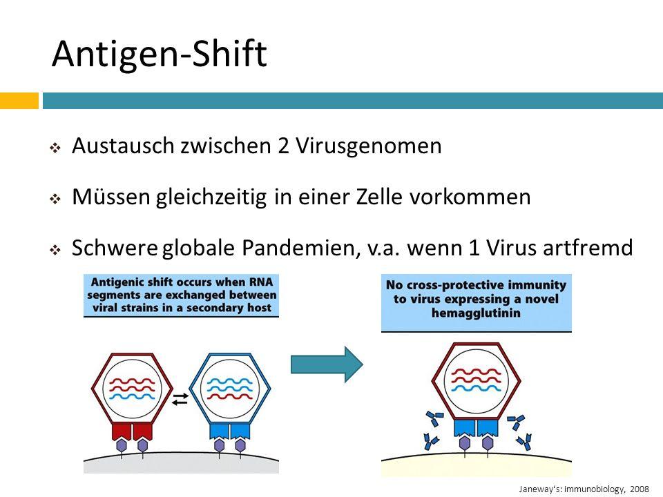 Antigen-Shift Austausch zwischen 2 Virusgenomen Müssen gleichzeitig in einer Zelle vorkommen Schwere globale Pandemien, v.a. wenn 1 Virus artfremd Jan