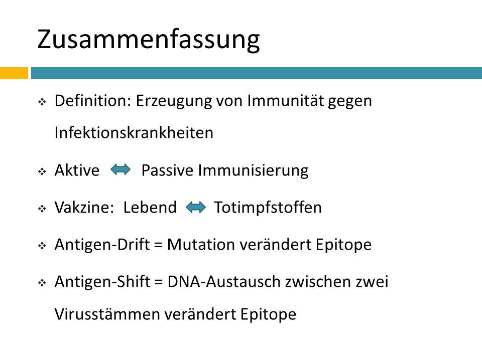 Zusammenfassung Definition: Erzeugung von Immunität gegen Infektionskrankheiten Aktive Passive Immunisierung Vakzine: Lebend Totimpfstoffen Antigen-Dr