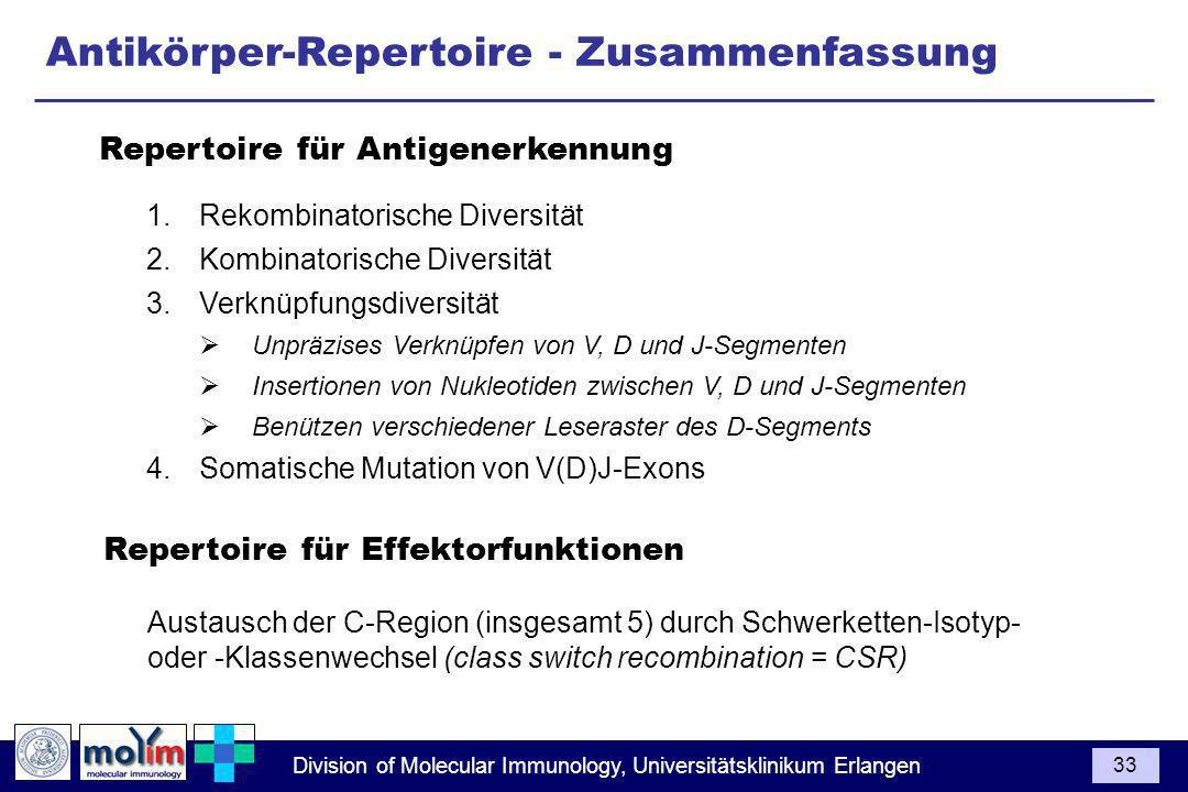 Division of Molecular Immunology, Universitätsklinikum Erlangen 33 Antikörper-Repertoire - Zusammenfassung 1.Rekombinatorische Diversität 2.Kombinator
