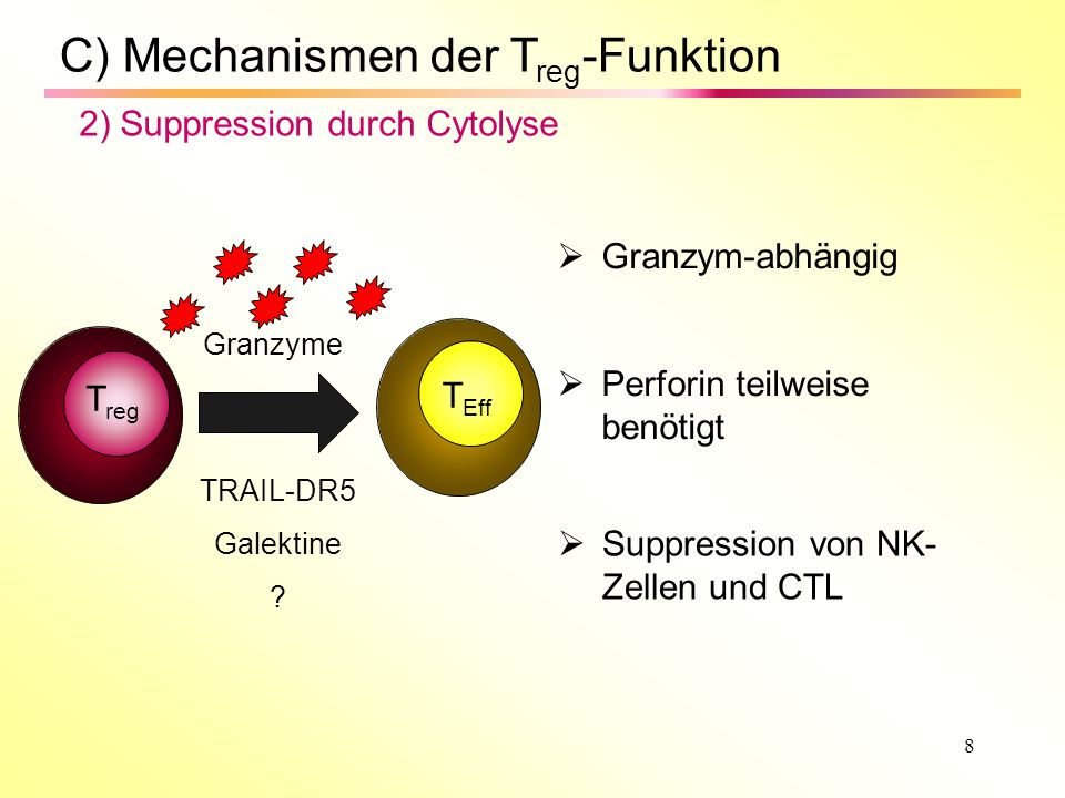 8 C) Mechanismen der T reg -Funktion 2) Suppression durch Cytolyse Granzym-abhängig Perforin teilweise benötigt Suppression von NK- Zellen und CTL T r
