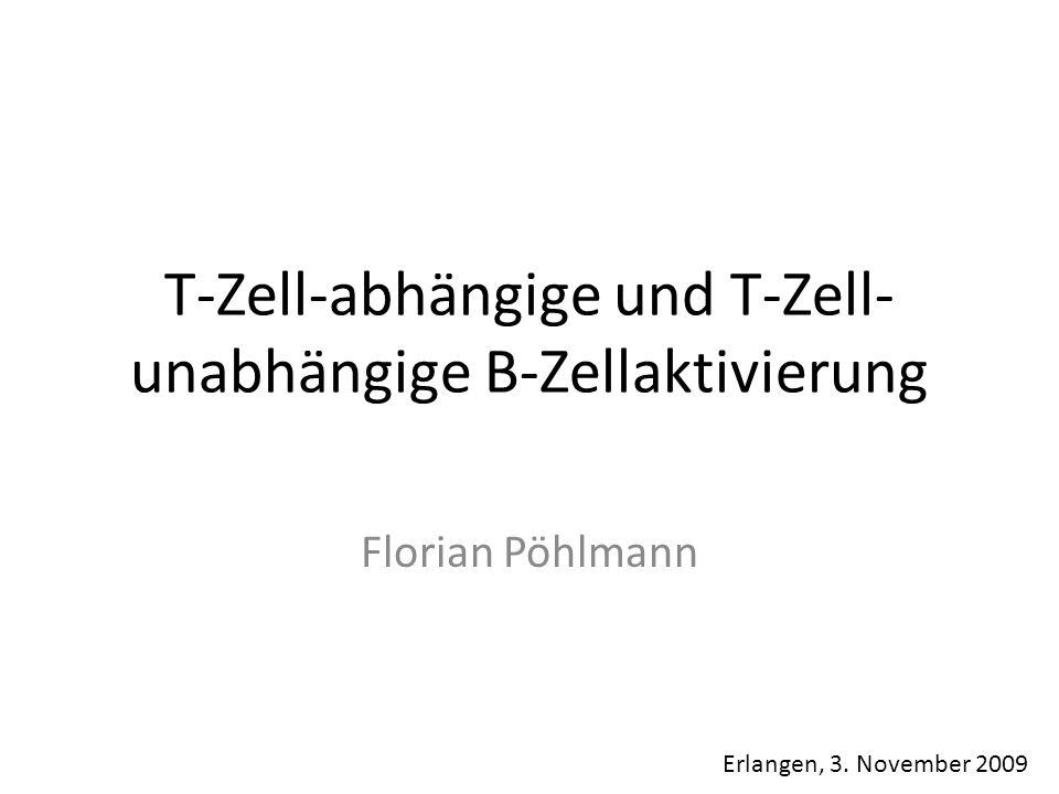 T-Zell-abhängige und T-Zell- unabhängige B-Zellaktivierung Florian Pöhlmann Erlangen, 3. November 2009