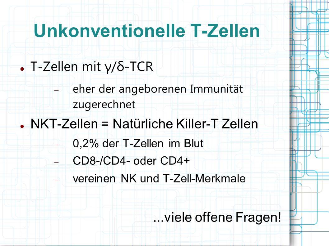 Unkonventionelle T-Zellen T-Zellen mit γ/δ-TCR eher der angeborenen Immunität zugerechnet NKT-Zellen = Natürliche Killer-T Zellen 0,2% der T-Zellen im