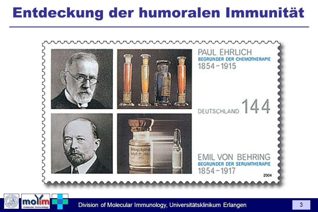 Division of Molecular Immunology, Universitätsklinikum Erlangen 4 Discovery of Humoral Immunity (Emil von Behring 1890) Pathogenic Tetanus 2020 Inactivated Tetanus 1010 Serum Inactivated Diphteria Serum 1010 Emil von Behring (1890) Soluble, inducible and specific immunity trough immunisation with pathogens Individual can be protected by transferring serum from immunized animal 1st Nobel Price 1901 for Serum Therapie