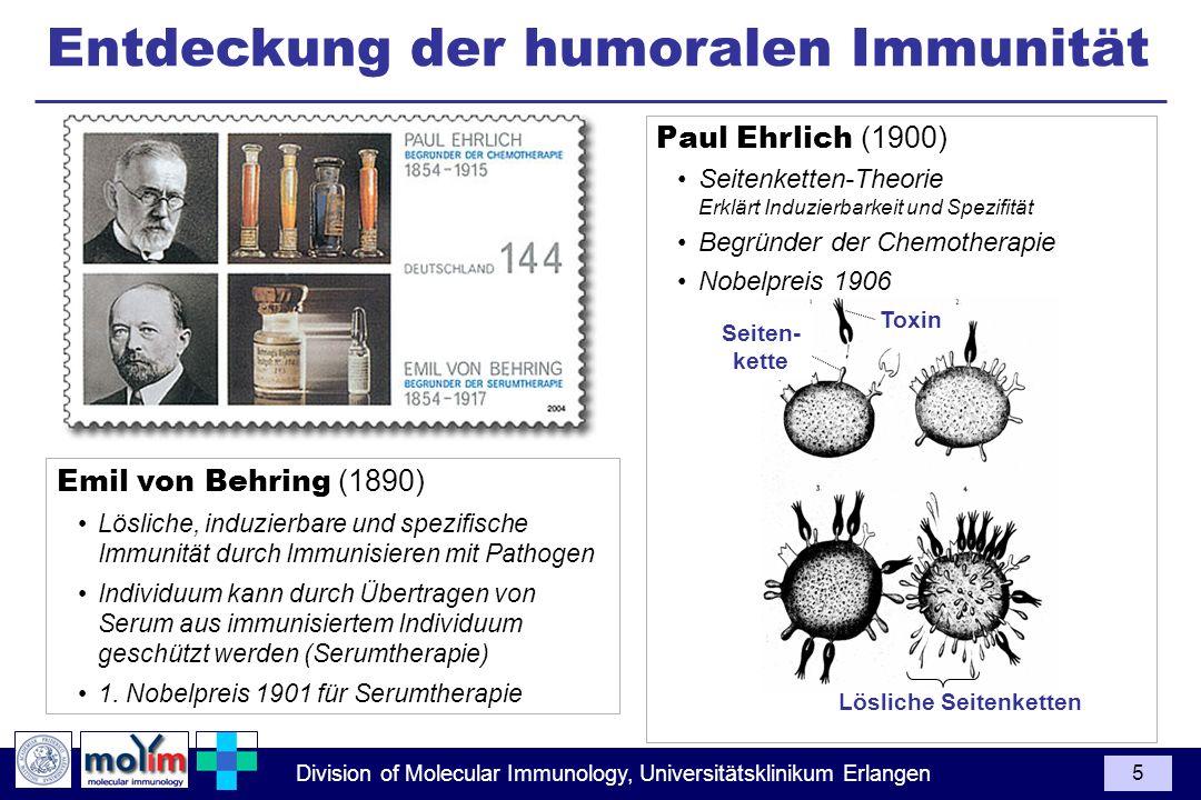 Division of Molecular Immunology, Universitätsklinikum Erlangen 5 Entdeckung der humoralen Immunität Emil von Behring (1890) Lösliche, induzierbare un