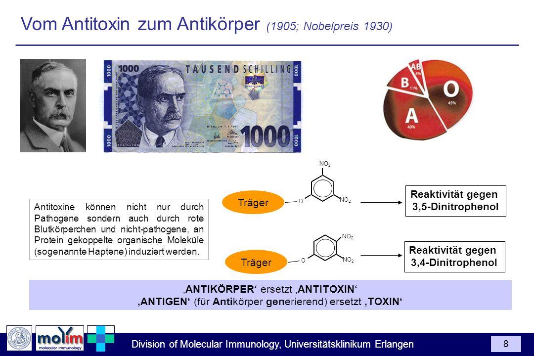 Division of Molecular Immunology, Universitätsklinikum Erlangen 8 ANTIKÖRPER ersetzt ANTITOXIN ANTIGEN (für Antikörper generierend) ersetzt TOXIN Anti