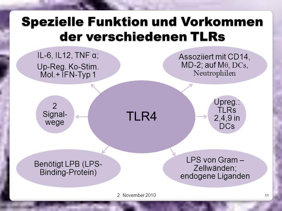 Spezielle Funktion und Vorkommen der verschiedenen TLRs TLR4 Assoziiert mit CD14, MD-2; auf M θ, DCs, Neutrophilen Upreg.: TLRs 2,4,9 in DCs LPS von G