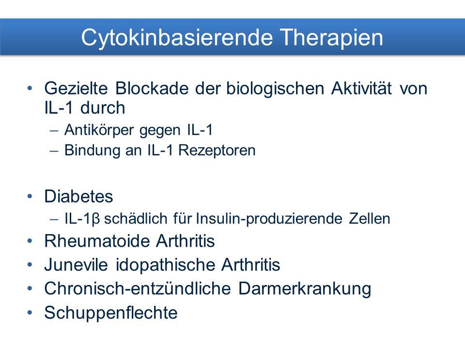 Cytokinbasierende Therapien Gezielte Blockade der biologischen Aktivität von IL-1 durch –Antikörper gegen IL-1 –Bindung an IL-1 Rezeptoren Diabetes –IL-1β schädlich für Insulin-produzierende Zellen Rheumatoide Arthritis Junevile idopathische Arthritis Chronisch-entzündliche Darmerkrankung Schuppenflechte