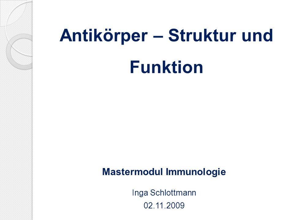 Antikörper – Struktur und Funktion Mastermodul Immunologie Inga Schlottmann 02.11.2009