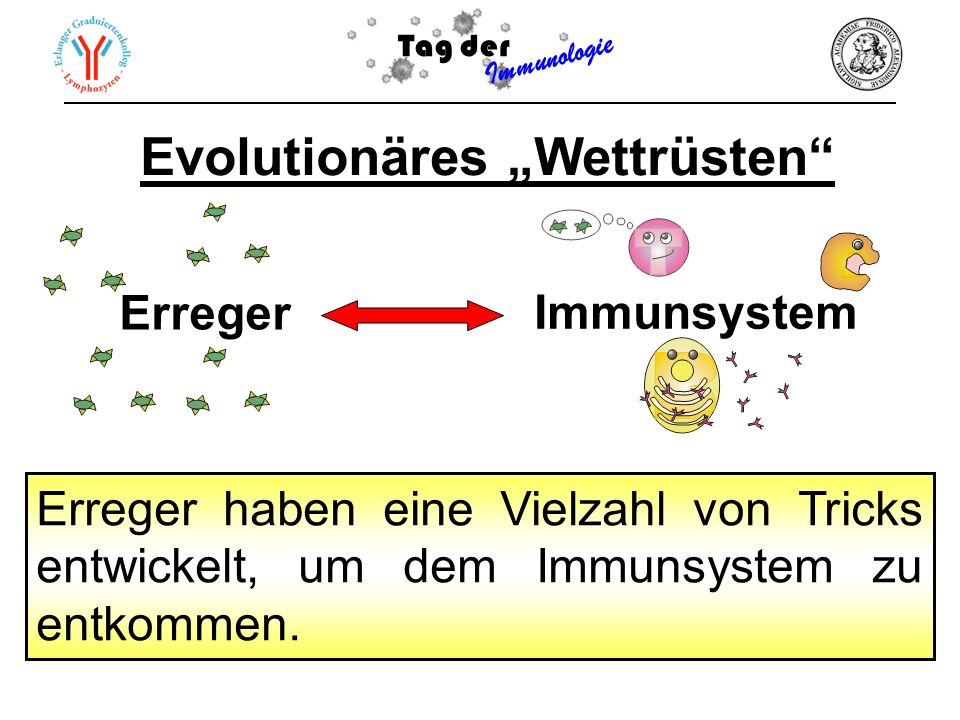 Erreger haben eine Vielzahl von Tricks entwickelt, um dem Immunsystem zu entkommen. Evolutionäres Wettrüsten Tag der Immunologie Erreger Immunsystem