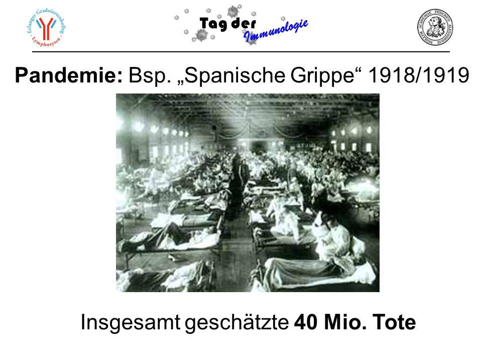 Tag der Immunologie Pandemie: Bsp. Spanische Grippe 1918/1919 Insgesamt geschätzte 40 Mio. Tote