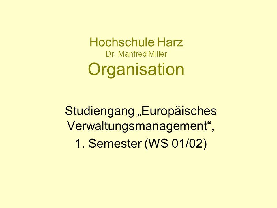 Hochschule Harz Dr. Manfred Miller Organisation Studiengang Europäisches Verwaltungsmanagement, 1. Semester (WS 01/02)
