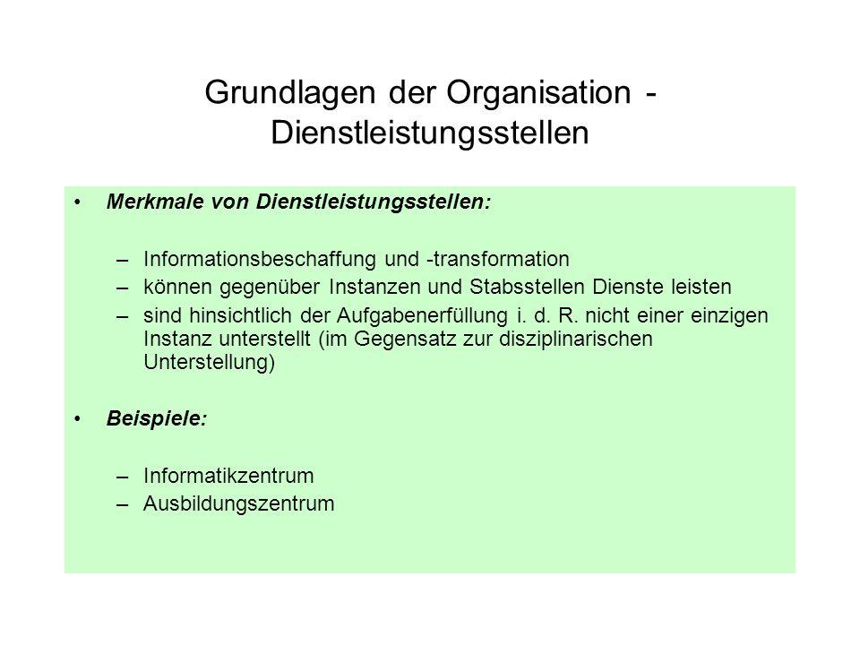 Grundlagen der Organisation - Dienstleistungsstellen Merkmale von Dienstleistungsstellen: –Informationsbeschaffung und -transformation –können gegenüb