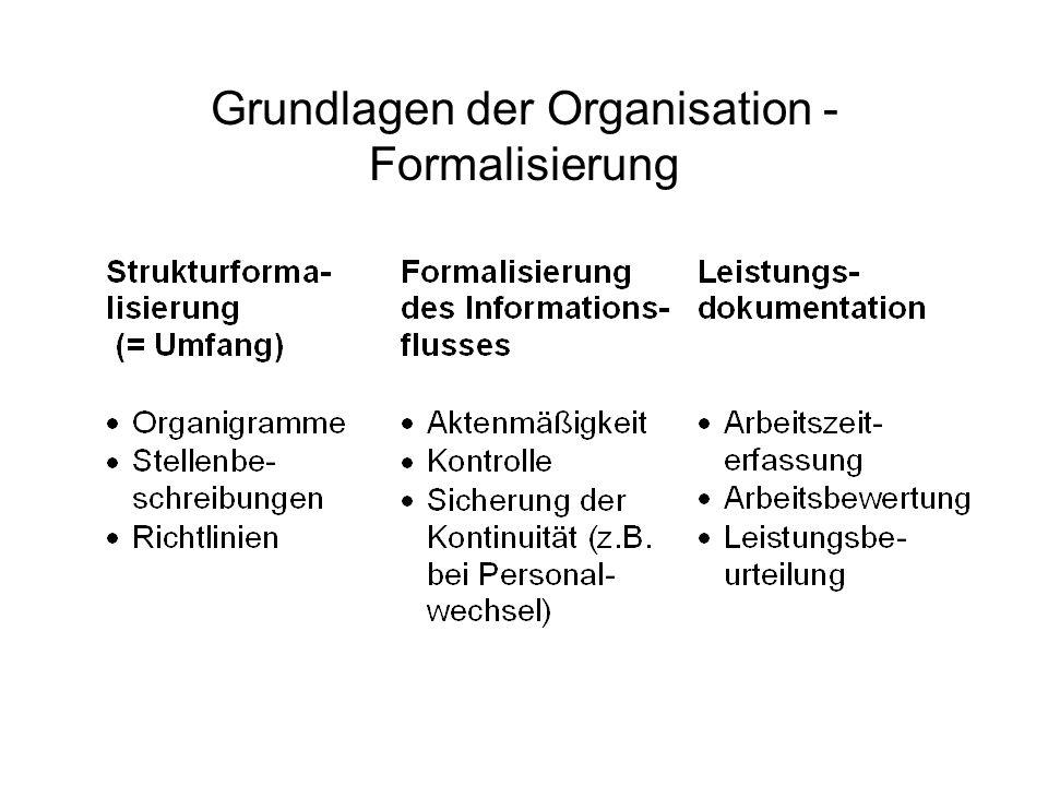 Grundlagen der Organisation - Formalisierung