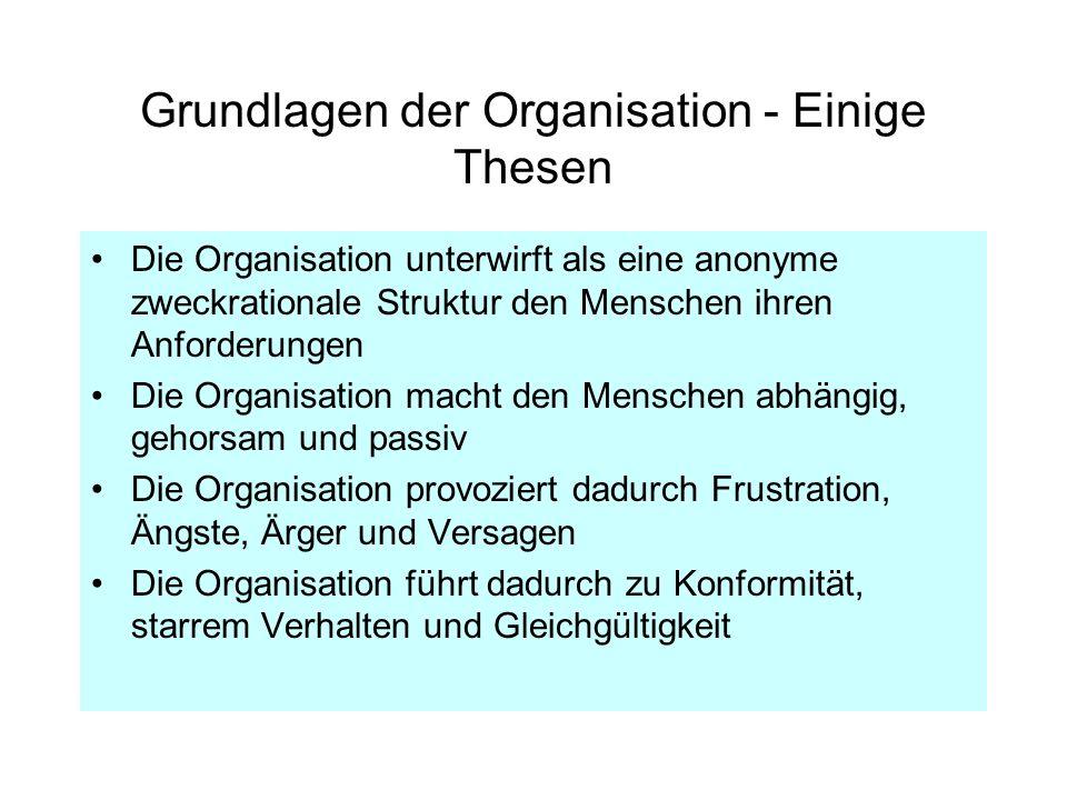 Grundlagen der Organisation - Einige Thesen Die Organisation unterwirft als eine anonyme zweckrationale Struktur den Menschen ihren Anforderungen Die