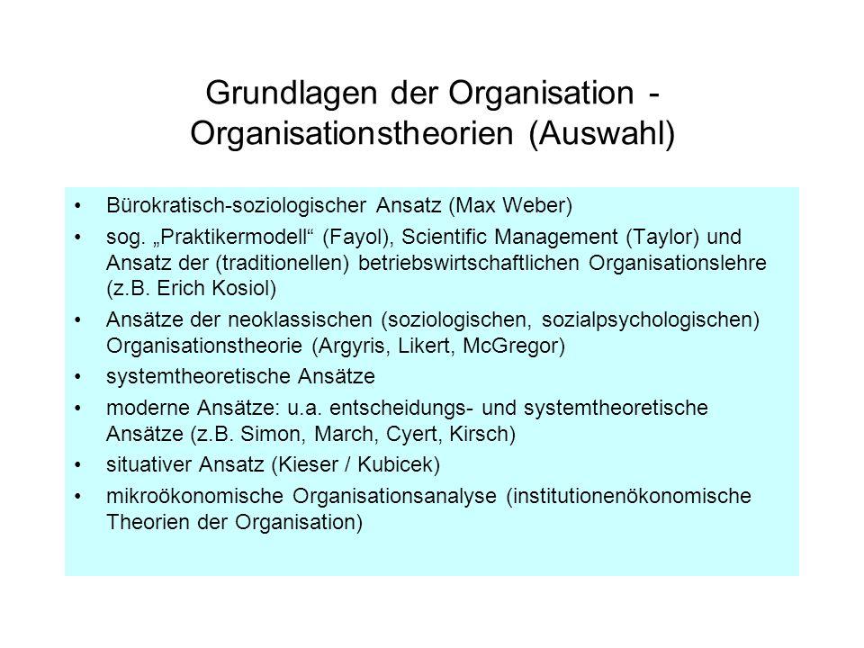 Grundlagen der Organisation - Organisationstheorien (Auswahl) Bürokratisch-soziologischer Ansatz (Max Weber) sog. Praktikermodell (Fayol), Scientific