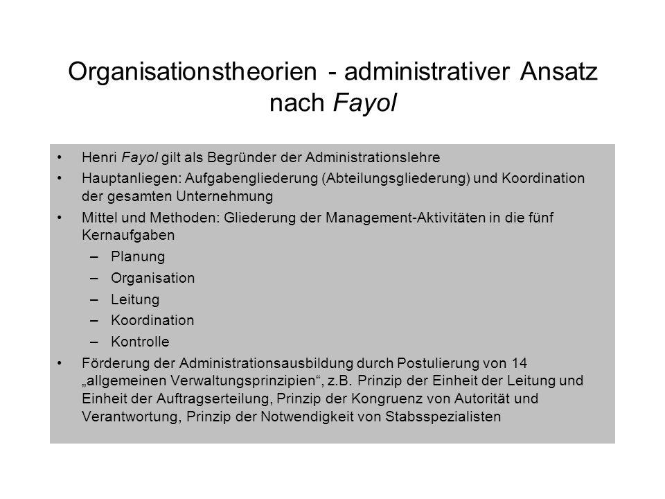Organisationstheorien - administrativer Ansatz nach Fayol Henri Fayol gilt als Begründer der Administrationslehre Hauptanliegen: Aufgabengliederung (A