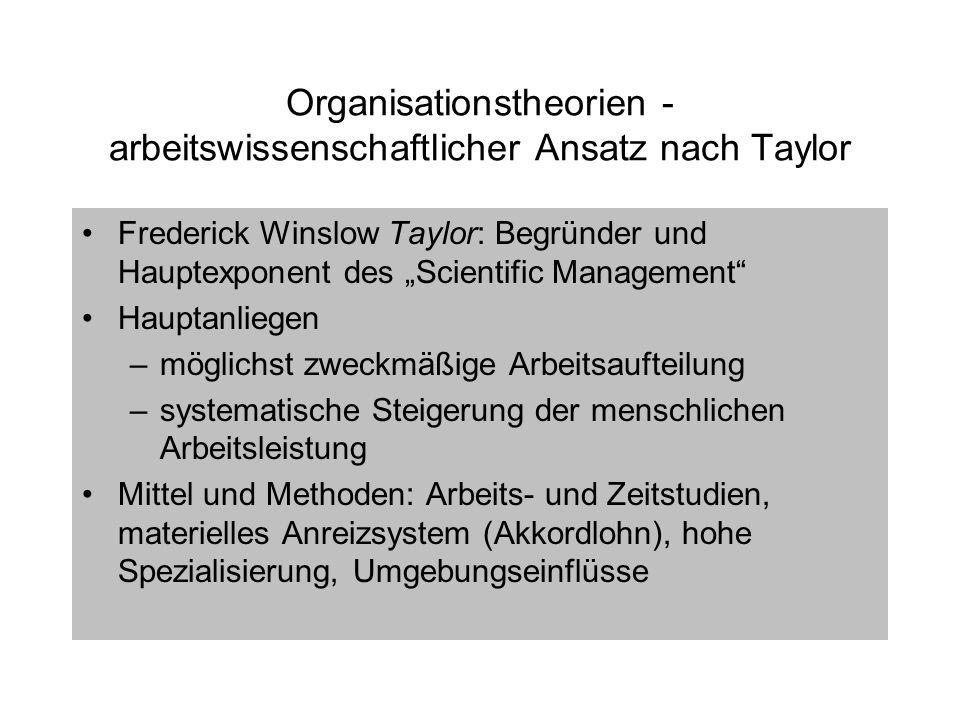 Organisationstheorien - arbeitswissenschaftlicher Ansatz nach Taylor Frederick Winslow Taylor: Begründer und Hauptexponent des Scientific Management H