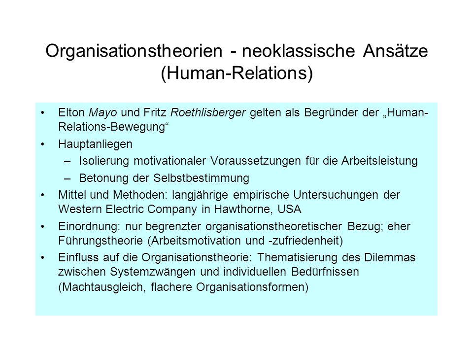 Organisationstheorien - neoklassische Ansätze (Human-Relations) Elton Mayo und Fritz Roethlisberger gelten als Begründer der Human- Relations-Bewegung