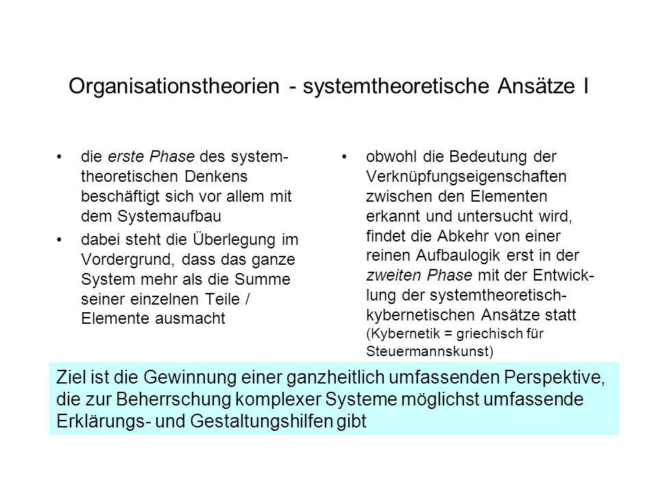 Organisationstheorien - systemtheoretische Ansätze I die erste Phase des system- theoretischen Denkens beschäftigt sich vor allem mit dem Systemaufbau