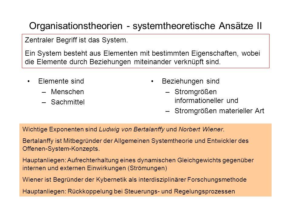 Organisationstheorien - systemtheoretische Ansätze II Elemente sind –Menschen –Sachmittel Beziehungen sind –Stromgrößen informationeller und –Stromgrö