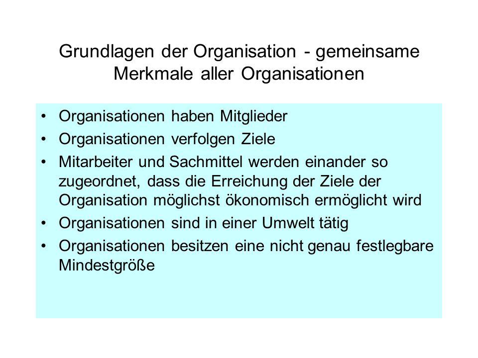 Grundlagen der Organisation - gemeinsame Merkmale aller Organisationen Organisationen haben Mitglieder Organisationen verfolgen Ziele Mitarbeiter und