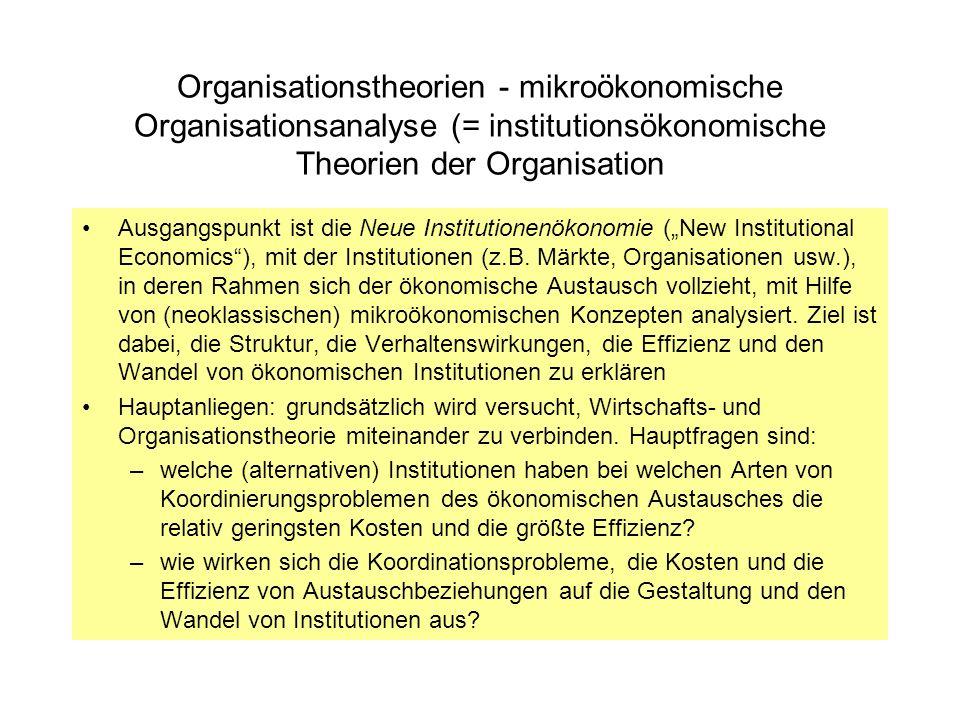 Organisationstheorien - mikroökonomische Organisationsanalyse (= institutionsökonomische Theorien der Organisation Ausgangspunkt ist die Neue Institut