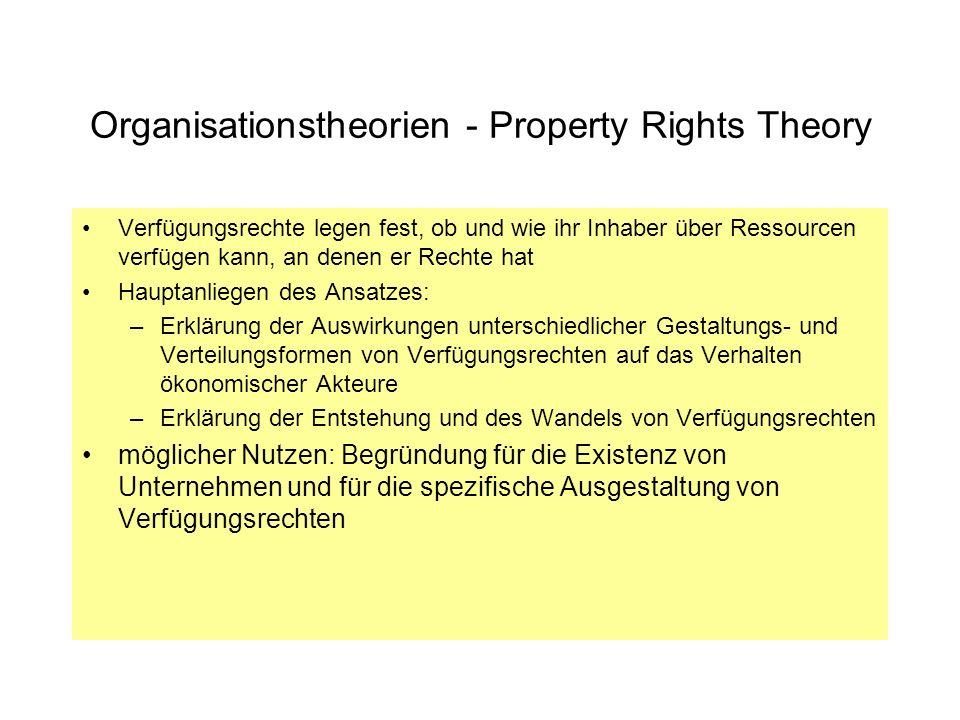 Organisationstheorien - Property Rights Theory Verfügungsrechte legen fest, ob und wie ihr Inhaber über Ressourcen verfügen kann, an denen er Rechte h