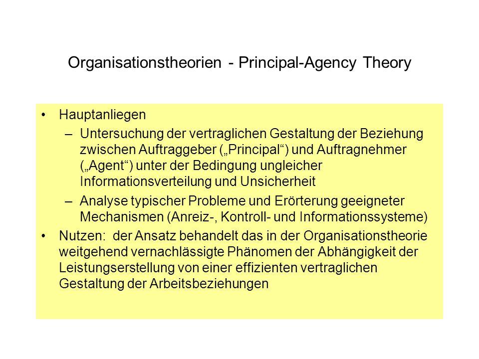 Organisationstheorien - Principal-Agency Theory Hauptanliegen –Untersuchung der vertraglichen Gestaltung der Beziehung zwischen Auftraggeber (Principa