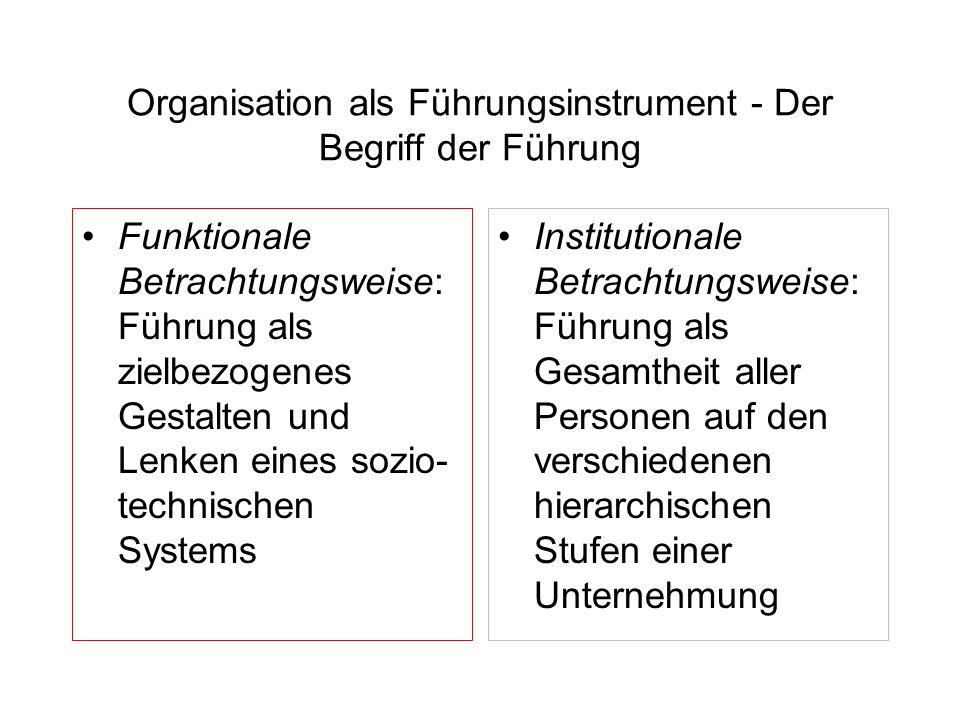 Organisation als Führungsinstrument - Der Begriff der Führung Funktionale Betrachtungsweise: Führung als zielbezogenes Gestalten und Lenken eines sozi