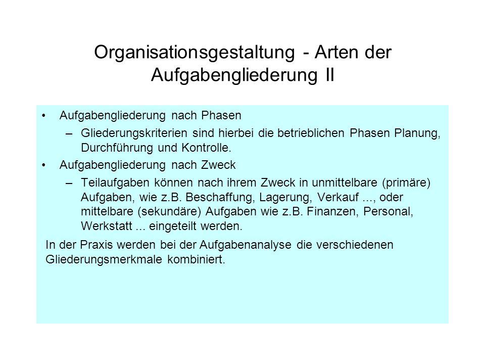 Organisationsgestaltung - Arten der Aufgabengliederung II Aufgabengliederung nach Phasen –Gliederungskriterien sind hierbei die betrieblichen Phasen P