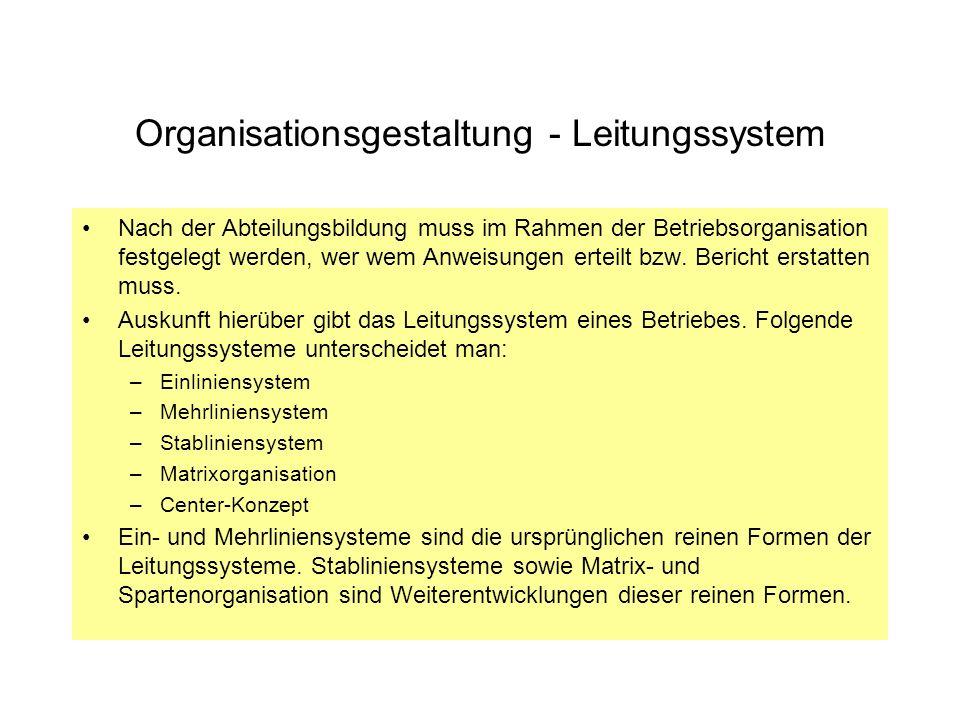 Organisationsgestaltung - Leitungssystem Nach der Abteilungsbildung muss im Rahmen der Betriebsorganisation festgelegt werden, wer wem Anweisungen ert