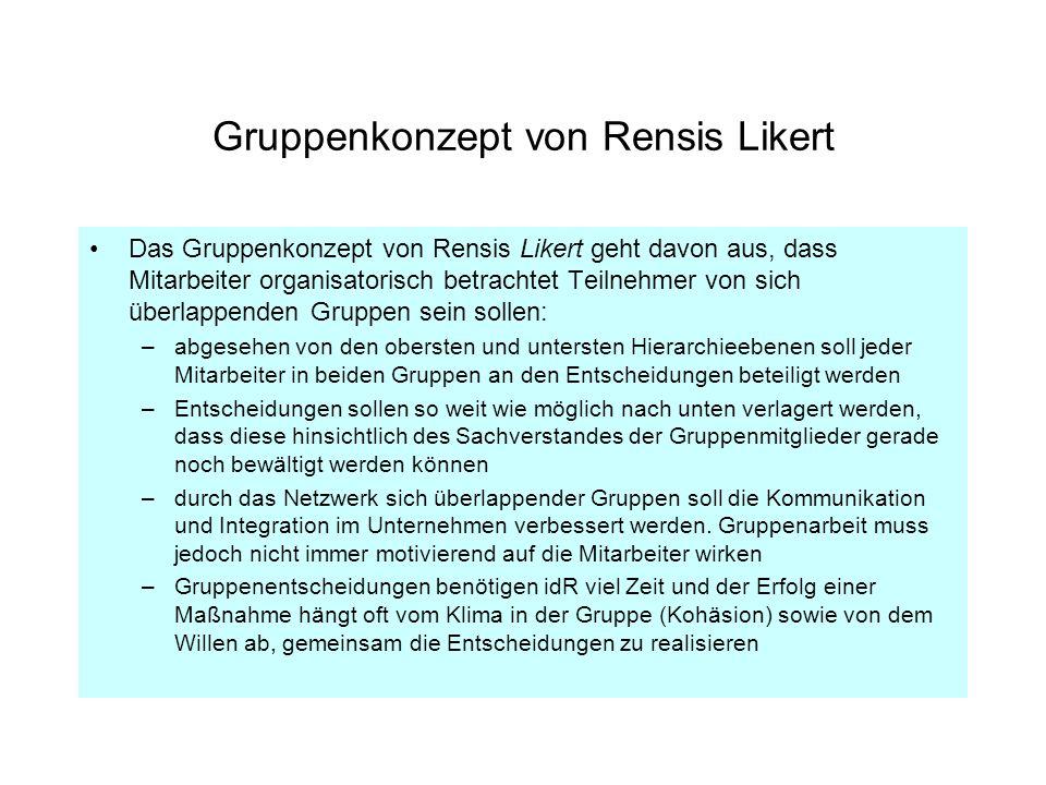 Gruppenkonzept von Rensis Likert Das Gruppenkonzept von Rensis Likert geht davon aus, dass Mitarbeiter organisatorisch betrachtet Teilnehmer von sich
