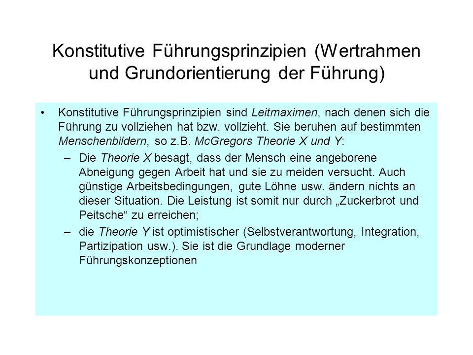 Konstitutive Führungsprinzipien (Wertrahmen und Grundorientierung der Führung) Konstitutive Führungsprinzipien sind Leitmaximen, nach denen sich die F