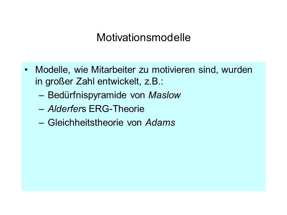 Motivationsmodelle Modelle, wie Mitarbeiter zu motivieren sind, wurden in großer Zahl entwickelt, z.B.: –Bedürfnispyramide von Maslow –Alderfers ERG-T