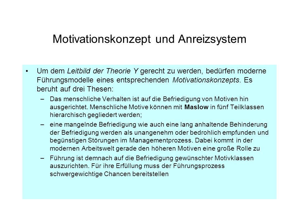 Motivationskonzept und Anreizsystem Um dem Leitbild der Theorie Y gerecht zu werden, bedürfen moderne Führungsmodelle eines entsprechenden Motivations