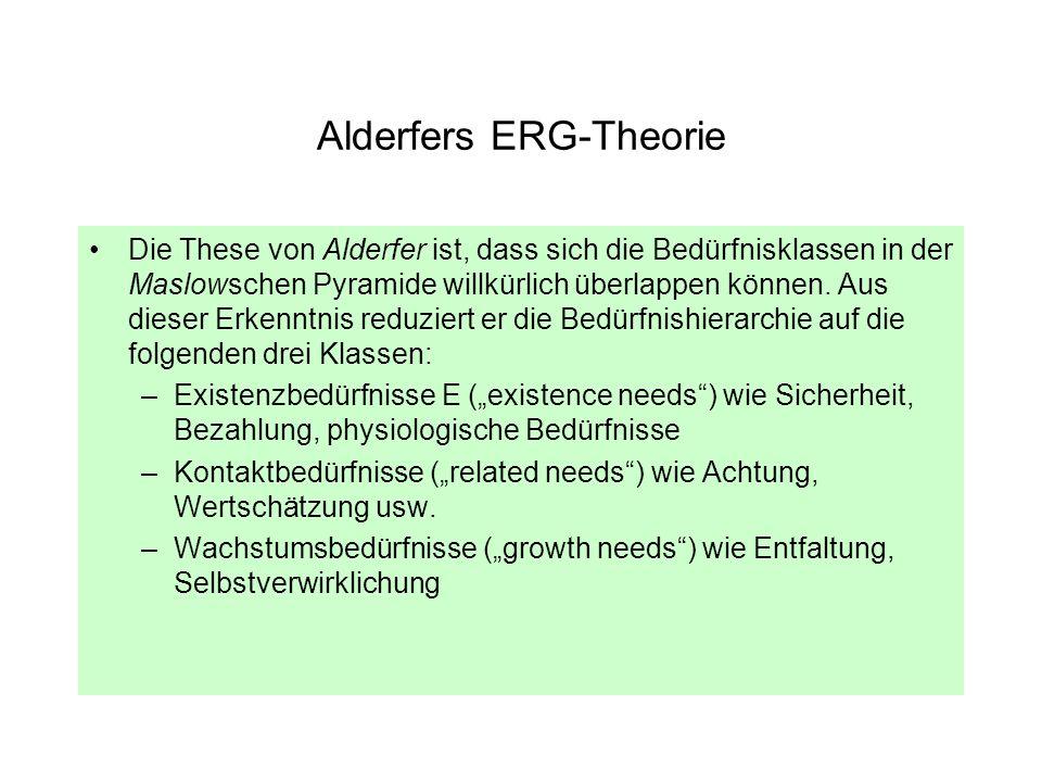 Alderfers ERG-Theorie Die These von Alderfer ist, dass sich die Bedürfnisklassen in der Maslowschen Pyramide willkürlich überlappen können. Aus dieser