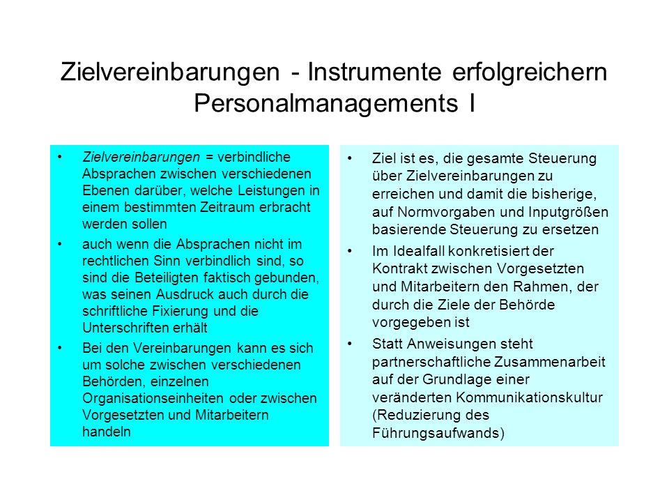 Zielvereinbarungen - Instrumente erfolgreichern Personalmanagements I Zielvereinbarungen = verbindliche Absprachen zwischen verschiedenen Ebenen darüb