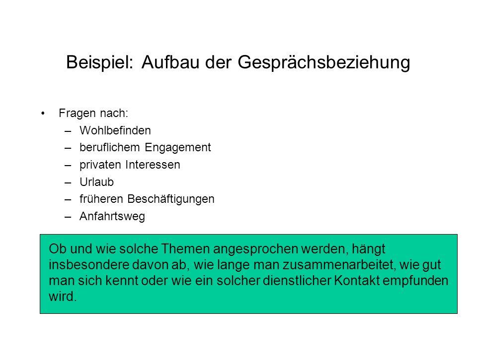 Beispiel: Aufbau der Gesprächsbeziehung Fragen nach: –Wohlbefinden –beruflichem Engagement –privaten Interessen –Urlaub –früheren Beschäftigungen –Anf