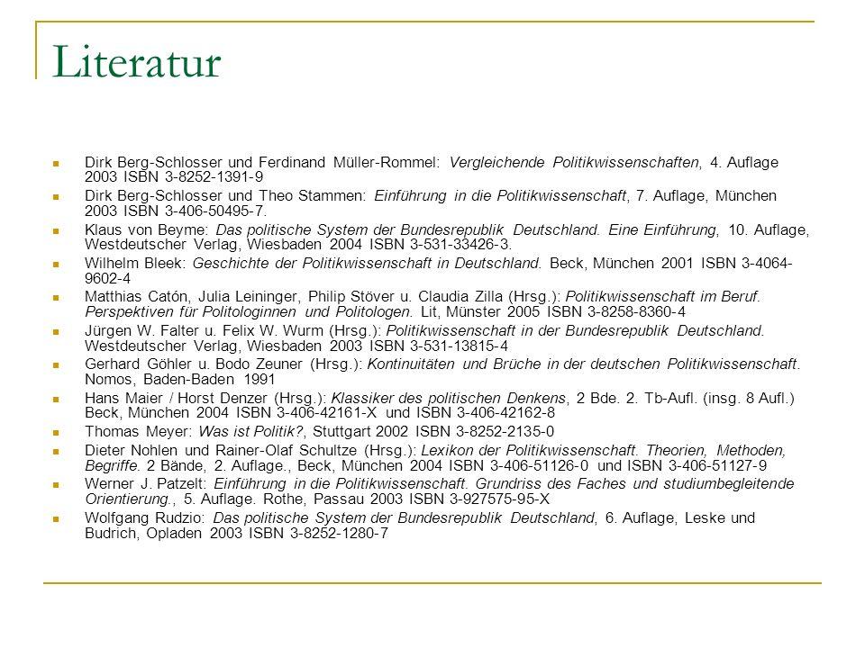 Literatur Dirk Berg-Schlosser und Ferdinand Müller-Rommel: Vergleichende Politikwissenschaften, 4. Auflage 2003 ISBN 3-8252-1391-9 Dirk Berg-Schlosser