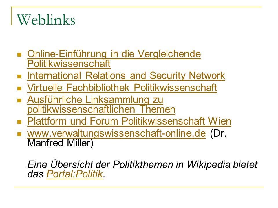 Weblinks Online-Einführung in die Vergleichende Politikwissenschaft Online-Einführung in die Vergleichende Politikwissenschaft International Relations