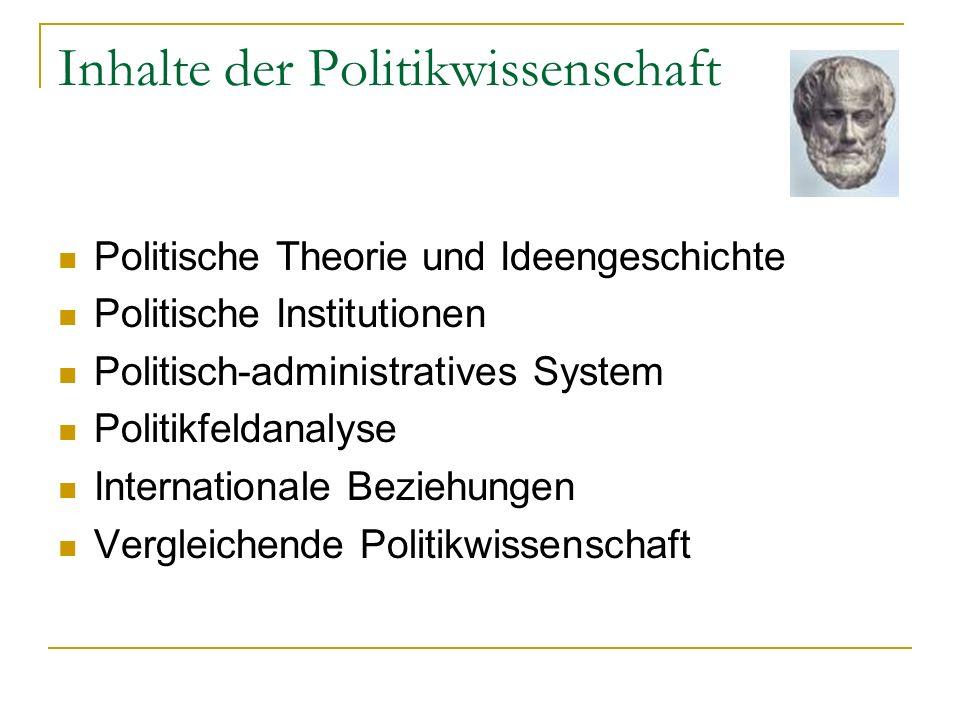 Inhalte der Politikwissenschaft Politische Theorie und Ideengeschichte Politische Institutionen Politisch-administratives System Politikfeldanalyse In