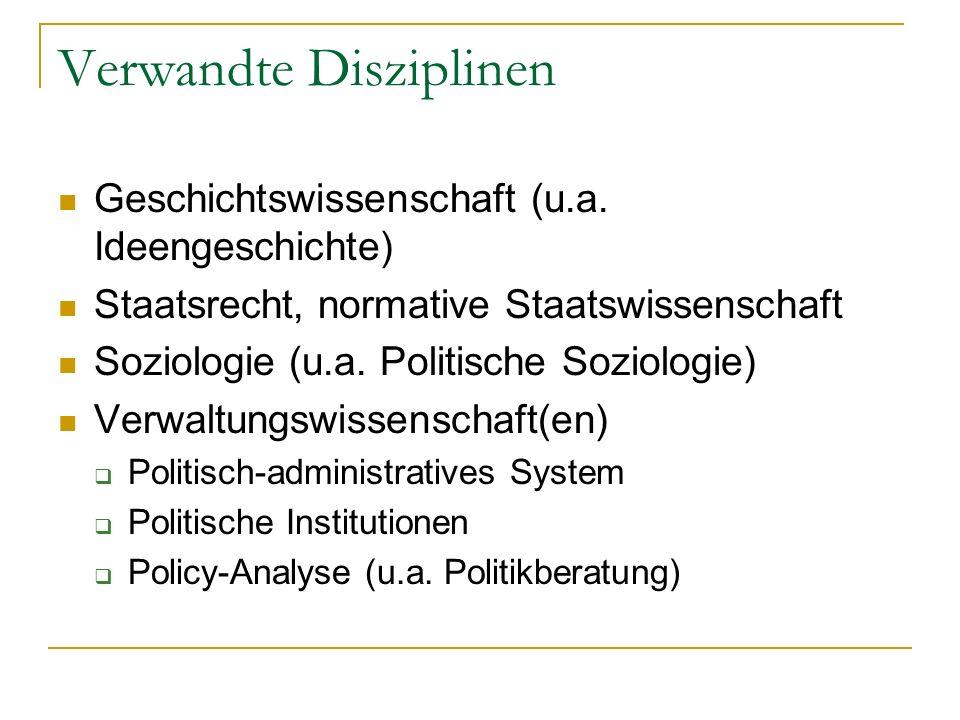 Verwandte Disziplinen Geschichtswissenschaft (u.a. Ideengeschichte) Staatsrecht, normative Staatswissenschaft Soziologie (u.a. Politische Soziologie)