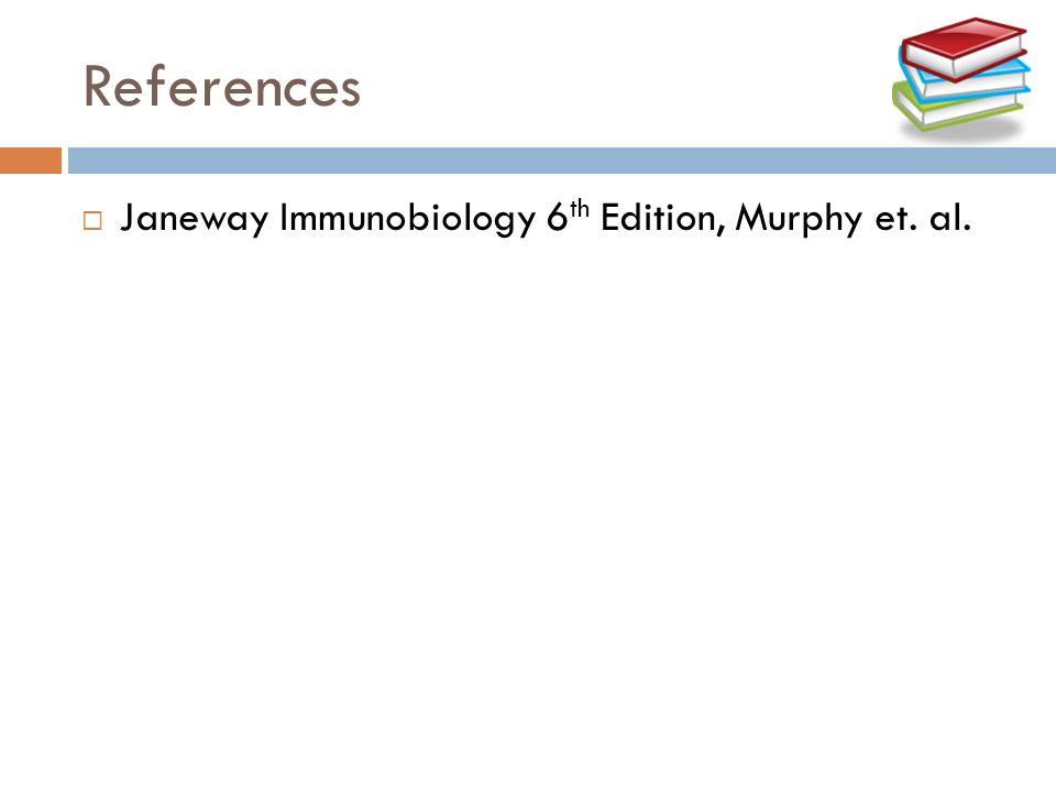 References Janeway Immunobiology 6 th Edition, Murphy et. al.