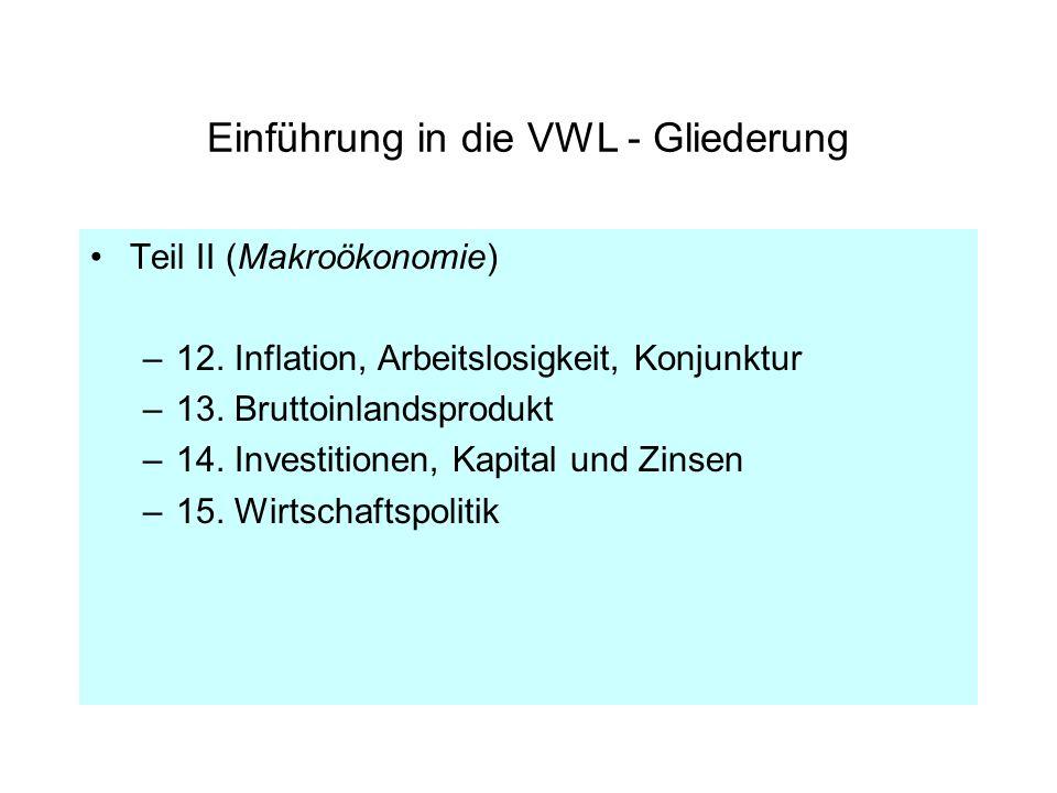 Einführung in die VWL - Gliederung Teil II (Makroökonomie) –12. Inflation, Arbeitslosigkeit, Konjunktur –13. Bruttoinlandsprodukt –14. Investitionen,
