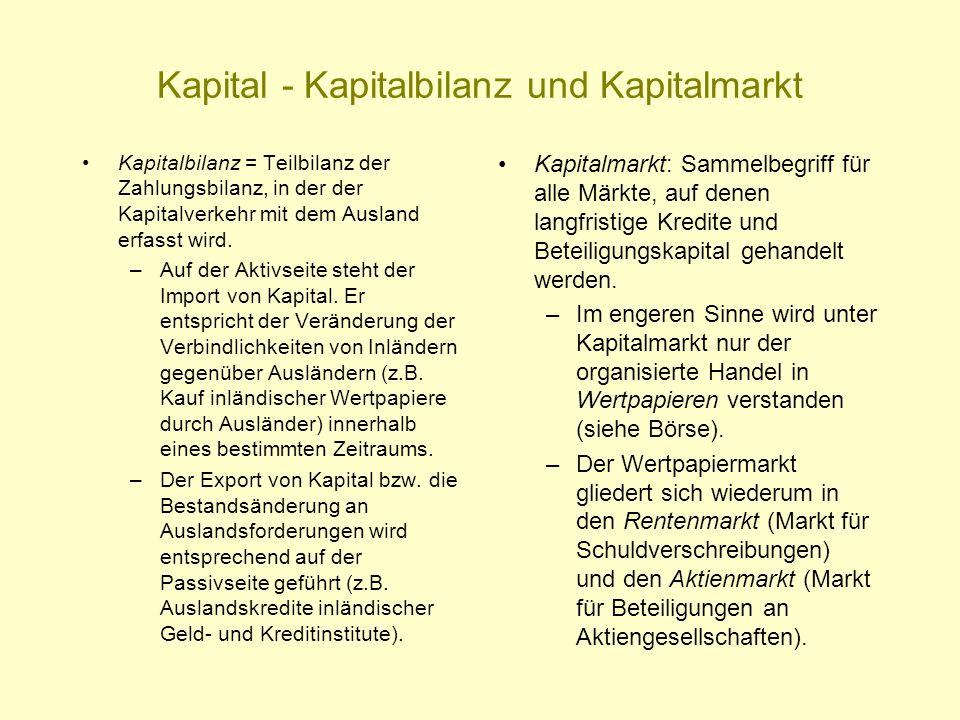 Kapital - Kapitalbilanz und Kapitalmarkt Kapitalbilanz = Teilbilanz der Zahlungsbilanz, in der der Kapitalverkehr mit dem Ausland erfasst wird. –Auf d