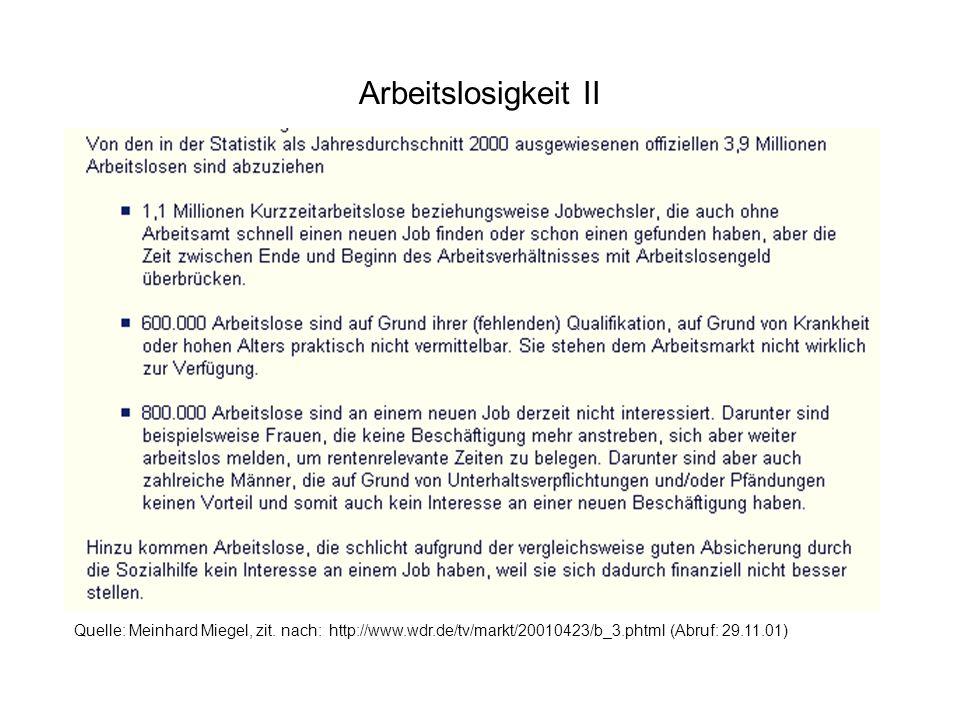 Arbeitslosigkeit II Quelle: Meinhard Miegel, zit. nach: http://www.wdr.de/tv/markt/20010423/b_3.phtml (Abruf: 29.11.01)