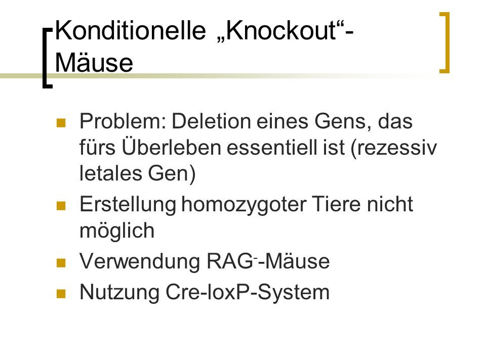 Konditionelle Knockout- Mäuse Problem: Deletion eines Gens, das fürs Überleben essentiell ist (rezessiv letales Gen) Erstellung homozygoter Tiere nicht möglich Verwendung RAG - -Mäuse Nutzung Cre-loxP-System