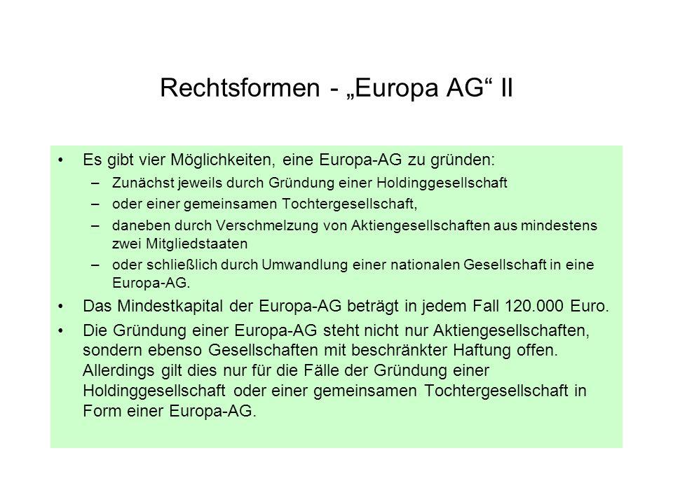 Rechtsformen - Europa AG II Es gibt vier Möglichkeiten, eine Europa-AG zu gründen: –Zunächst jeweils durch Gründung einer Holdinggesellschaft –oder ei