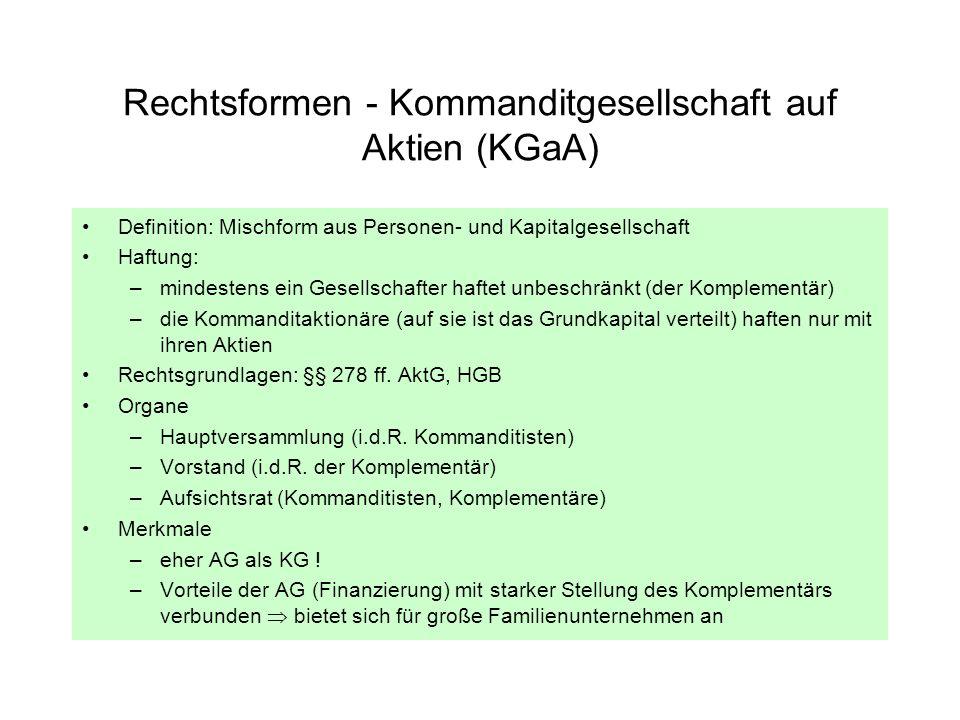 Rechtsformen - Kommanditgesellschaft auf Aktien (KGaA) Definition: Mischform aus Personen- und Kapitalgesellschaft Haftung: –mindestens ein Gesellscha